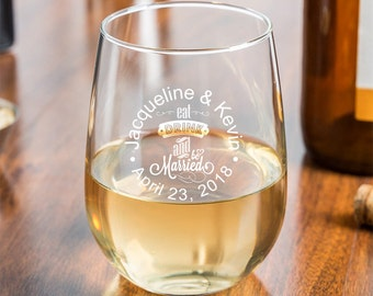 24 pcs Eat Drink and Be Married Personalized 9 oz Stemless Wine Glass - Wedding Favors - Birthday Party Favors - MIC24