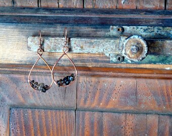 handmade earrings in antique copper with irregular stones of smoky quartz. copper earrings