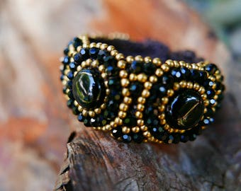 Black Gold Art Beaded Jewelery Bangle braided with Rope I Hand Crafted Fantasy Beads Accessorie