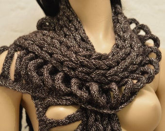Hand Knitted Wool Scarf with Fringes, Cable Knitted Alpaca Scarf, Chunky Womens Fringed Scarf, Long Winter Scarf, Wool Scarf
