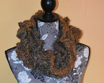 Cowl,scarf, Wrap, Spirals, Crocheted scarf spiral, Autumn colors, Ready to ship, Home spun yarn, Lion brand