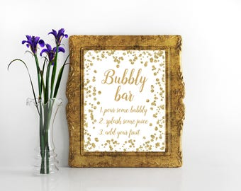Bubbly bar sign Bubbly sign printable Mimosa bar sign Bridal shower Bachelorette Party sign Champagne Sign Gold glitter wedding sign