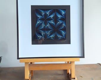 Unique Paper Wall Art Décor, Quilling Art, Paper Art, GEOMETRY – BLUE ZENTAGLES