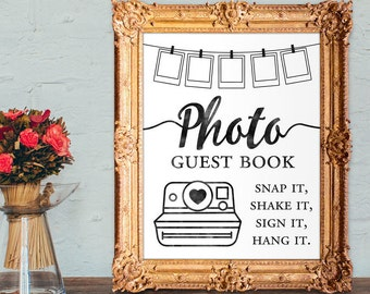 Photo guest book - snap it, shake it, sign it, hang it - wedding guest book - PRINTABLE 8x10 - 5x7