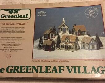 Vintage Greenleaf Village Set/6 piece village/Never been assembled/In original box/Prefect for Christmas or Train Layouts