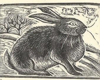 March Hare Original Wood Engraving