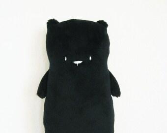 Bear Plush, Black, Stuffed Teddy Bear, Small Soft Toy Animal Doll, Handmade Gift
