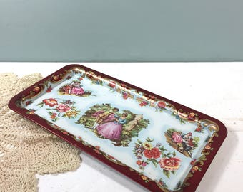 Vintage Painted Dresser Tray, Ornate French Provincial, Gold Blue Burgundy Red, Flowers Dancing, Made In England, Daher, Hollywood Regency