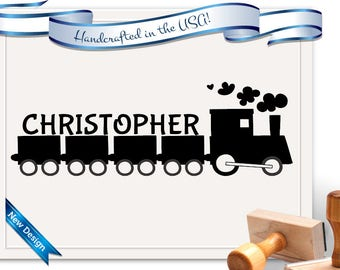Child Name Stamp - Bookplate, toys etc... Train Stamp for a child's belongings! Customized free! SKU 1347