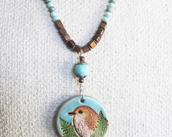 Bird necklace, spring necklace, summer jewelry, nature jewelry, woodland necklace, woodland jewelry, ceramic pendant, blue and brown