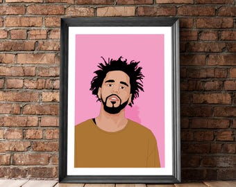J Cole Poster, J Cole Print, Music Poster, JCole Print, J Cole Decor, J Cole Portrait, Home Decoration, Wall Decor, Posters and Prints