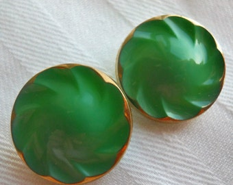 Glass Buttons ~ Vintage opaque emerald green molded glass with gold rim buttons ~ set of 2 at 5/8inch