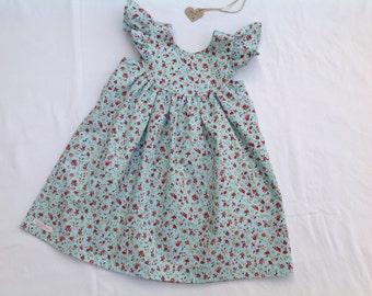 Girls dress, baby dress, toddler dress, floral dress, summer dress, flutter sleeve dress, duck egg blue