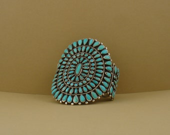 Large Vintage Turquoise Bracelet, Native American-made, sterling silver and turquoise cluster work, color blue, vintage cuff bracelet