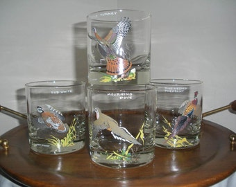 Ned Smith Low Ball Glasses Wildlife Design Bar Ware