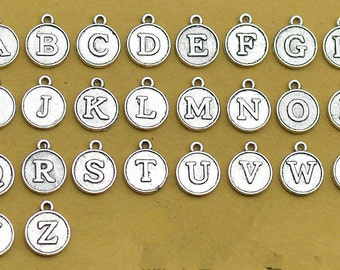 26 Alphabet Letter Charms Antique Silver Round Initials 2 Sided