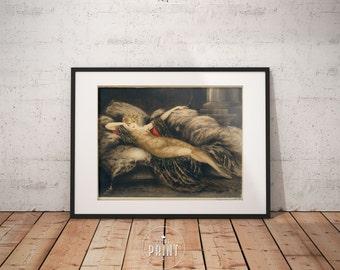 Golden Veil by Louis Icart , Art deco Wall Art, Framed print,  PP070