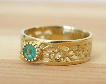 Emerald ring, vintage gold ring, vintage emerald ring, green Emerald ring, filigree ring, vintage ring, emerald stone, gold jewelry