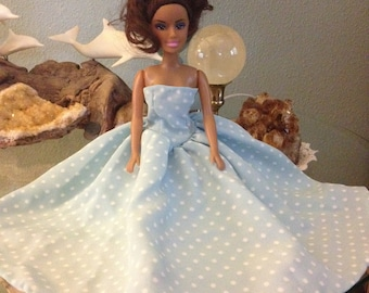 """Handcrafted """"Barbie"""" doll strapless gown"""