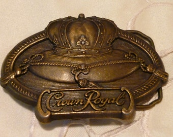 Vintage Belt Buckle ~Crown Royal Decorated ~ Stamped Deluxe Canadian Whiskey  ~ Antique Bronze Tone