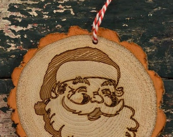Santa Wood Slice Ornament