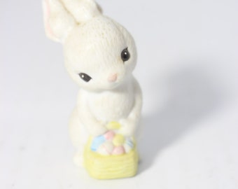 1982 Hallmark Cards Miniature Bunny Rabbit Figurine Carrying a Easter Eggs Basket  - Taiwan