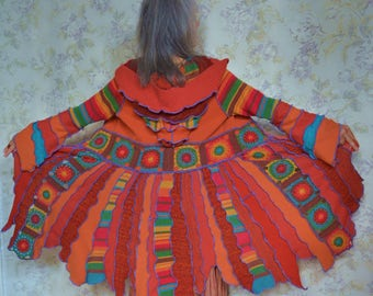Katwise inspired upcycled sweater coat-Barcelona revisited, Patchwork, sweater coat -Small