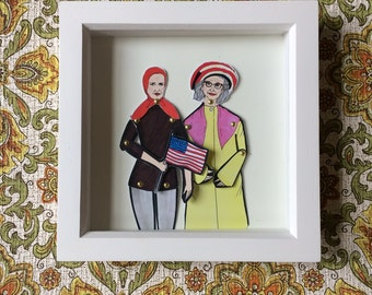Grey Gardens framed doll set. Perfect present for Little and Big Edie fans.
