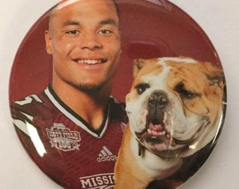 "DALLAS COWBOY *  Dac Prescott  # 4 -  2.25"" Button -  Magnet - or Mirror - NFL Cowboy Souvenir - Dak Prescott Mississippi Bulldog"