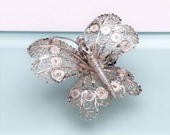 Vintage Sterling Silver Filigree Butterfly Brooch, ca. 1950's