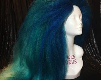 Huge Teal Mermaid Drag Wig