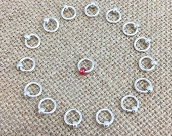Silver Beaded Stitch Marker, O Ring Stitch Markers, Round Markers, Dangle Free Markers, Gifts for Knitter, Knitting Tool, Snag Free