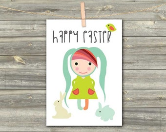 Happy Easter DIGITAL CARD - PDF - Greeting Card - Easter Digital Download - Printable Bunny Easter Card - diy - Easter Sunday - Girl Card