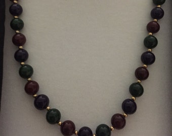 """Hard Plastic Red, Green, Purple and Gold Beads 22"""""""