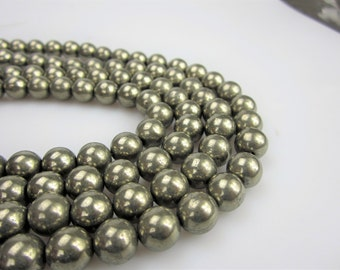 Pyrite Smooth Round Well Polish Gemstone Loose Beads Size 6mm/8mm/10mm 15.5 Inch per Strand.R-S-PYR-0330