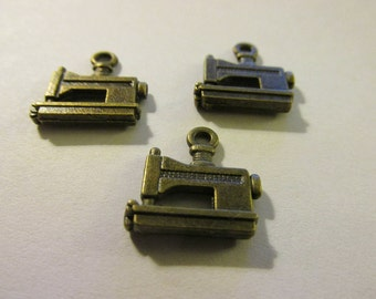 "Mini Bronze Sewing Machine Charms for Jewelry Making, 1/2"", Set of 3"