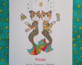 Pisces Cat Greeting Card - Zodiac Pisces Cat - Cat Astrology Card - Astrology Pisces