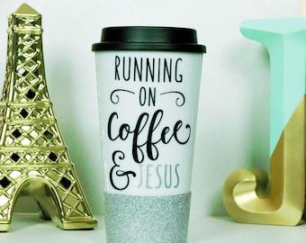 coffee and Jesus, tumbler, tumblers, coffee mugs, coffee mug, glitter dipped, to-go tumbler, cute coffee mug, funny coffee mug, custom mugs