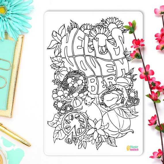 hello november coloring page bullet journal sticker monthly planner monthly coloring sticker hello fall 5 x 7 from wundertastischdesign on etsy