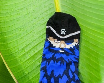 Unique Cotton Socks for Pirate Party, Socks for pirate birthday or birthday gift, Blue Men Socks, Socken chaussette