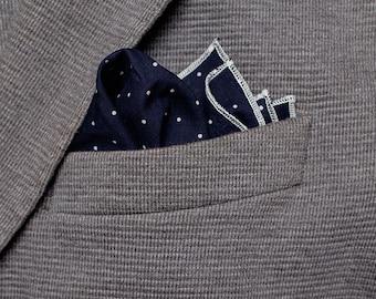 Navy Blue Pocket Square, Polka Dots Handkerchief, White Dots Pocket Square, Cotton Handkerchief, Boho Hanky, Dark Handkerchief