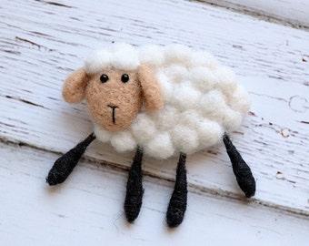 Needle felted sheep brooch. White sheep. Gray sheep. Pink sheep. Brown sheep.