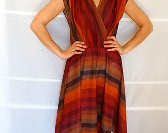 Womens summer dress midi size 8 sleeveless dress greek goddess dress wraparound dress striped brown dress Vintage 1970s Medium US size 8