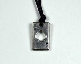 Poker Men's Necklace, Lucky Pendant, Men's Jewelry, Ace Jewelry In Silver Color, Handmade In Greece.