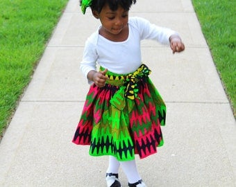 Colorful African Toddler Girl Wrap Skirt Pink Ankara Baby Girl Outfit Afrocentric Outfit African Baby Girl Coming Home Outfit with FREE gift