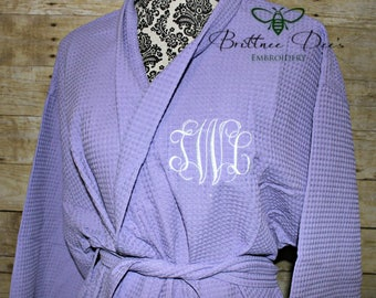 Monogrammed Woman's Knee Length Kimono Bathrobe - Waffle Weave