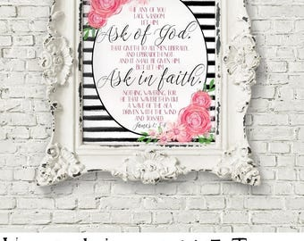 Young Women 2017 Theme, Ask of God, Ask in Faith, James 1:5-6, Digital Print, Black Stripes