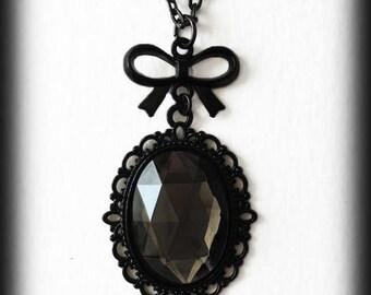 Gothic Victorian Necklace, Glass Cameo Pendant, Gothic Jewelry, Smoky Crystal Necklace, Alternative Jewelry, Handmade Jewellery