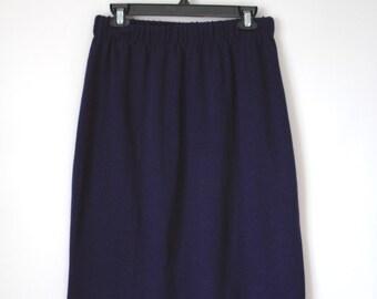 70s Navy Blue Knit Elastic Waist Skirt - Secretary Skirt - Simple Office Skirt - Size Medium