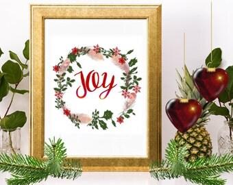 SALE! JOY, Joy Wreath, Joy Sign with Wreath, Joy Printable, Joy Sign, Joy to the World, Joy Christmas Sign, Christmas Words, Joy Decor